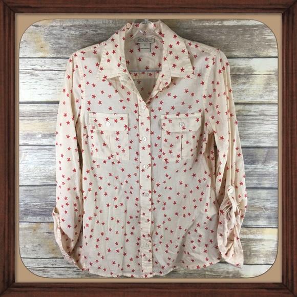 415feff1 Lucky Brand Tops - Lucky Brand Red Stars Light Cotton Button Down EUC